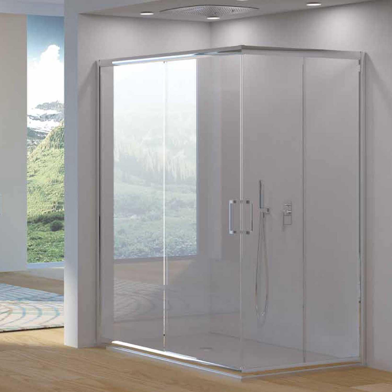 Box doccia angolare apertura scorrevole cm 80x80 cristallo temperato 6 mm Oceania