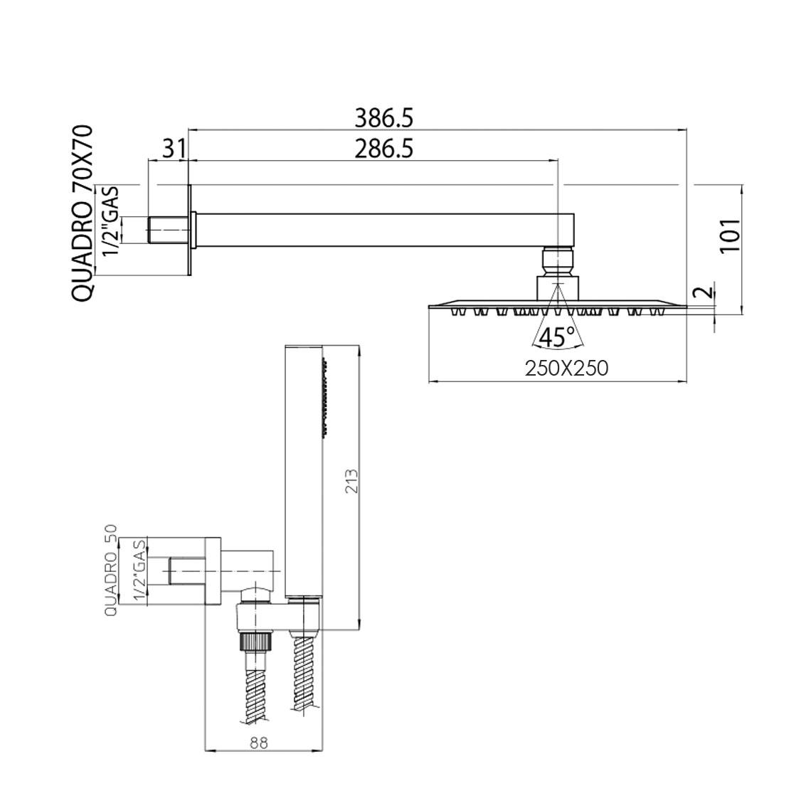 Composizione doccia Bossini con soffione quadrato ultra slim 25x25 cm, braccio doccia e kit duplex