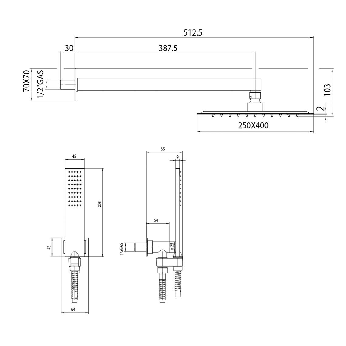Composizione doccia Bossini con soffione rettangolare ultra slim 40X25 cm, braccio doccia e kit duplex