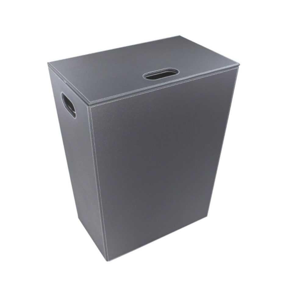 Porta Biancheria 'Koh-i-Noor' in ecopelle con sacca interna - cm 48x30x61h - Grigio