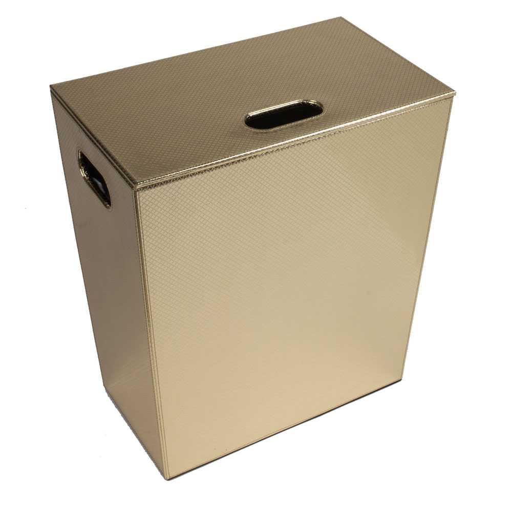Porta Biancheria 'Koh-i-Noor' in ecopelle con sacca interna - cm 43x26x48h - Oro Metal
