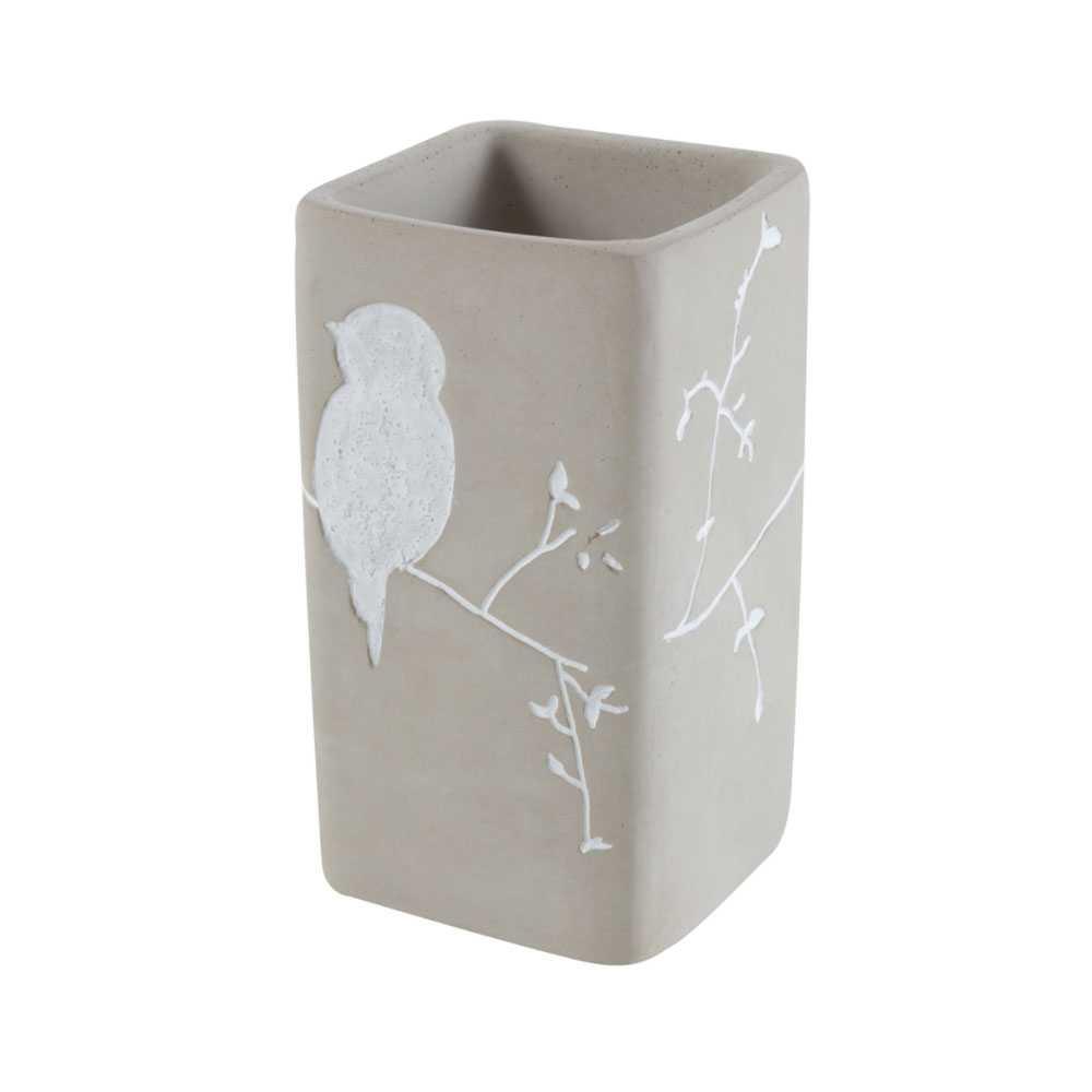 Bicchiere porta spazzolino 'Birdie Cement' in cemento by Cipi - cm 7x7x12h