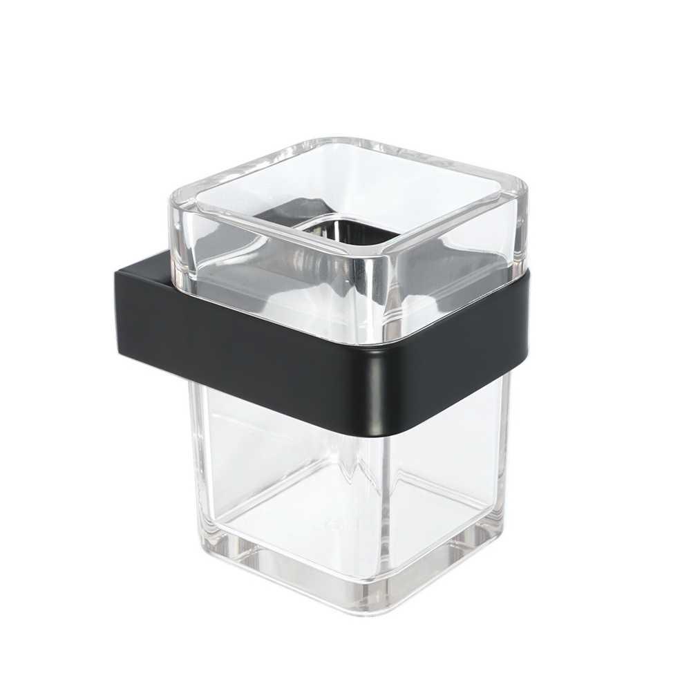 Porta spazzolini in acciaio verniciato nero e materiale termoplastico fissaggio con viti o colla mod25 Metaform