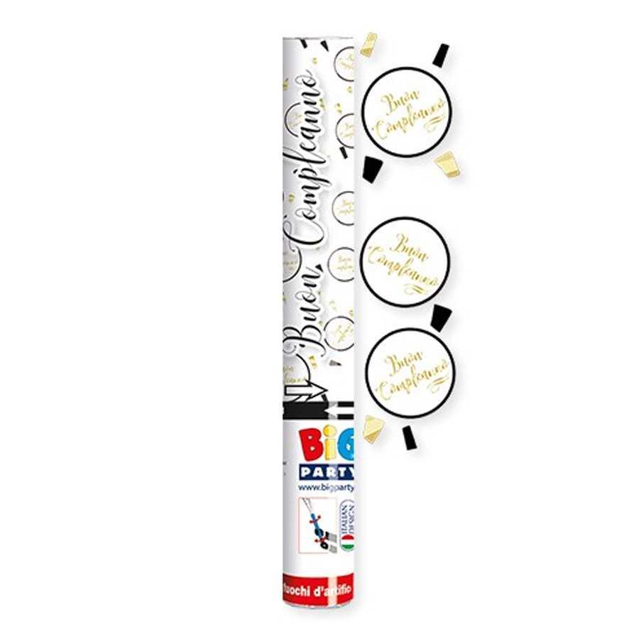 Tubo sparacoliandoli Buon Compleanno Chic cm 30 colori Nero Bianco e Oro