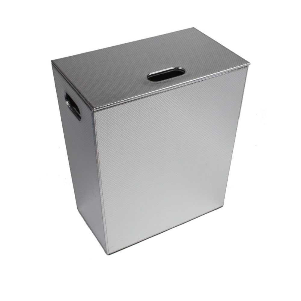 Porta Biancheria 'Koh-i-Noor' in ecopelle con sacca interna - cm 43x26x48h - Cromo Metal