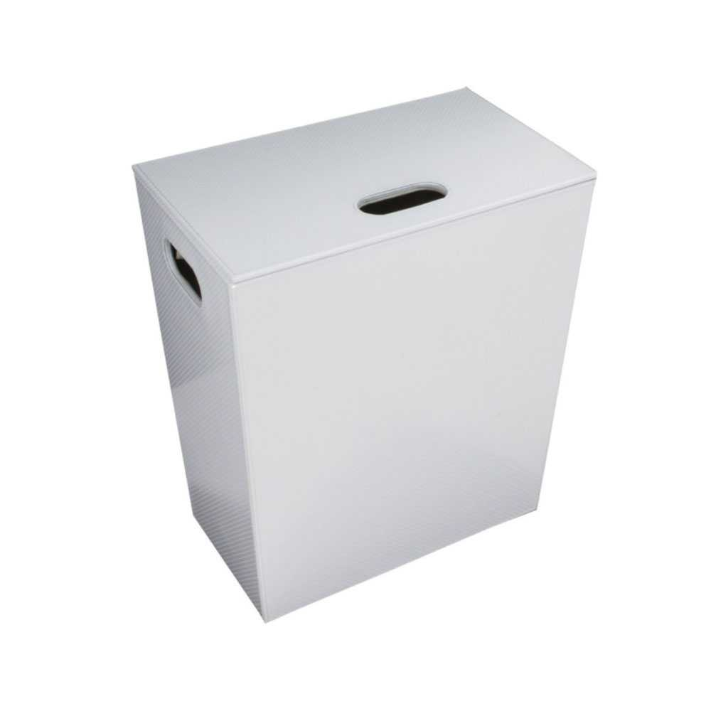 Porta Biancheria 'Koh-i-Noor' in ecopelle con sacca interna - cm 43x26x48h - Bianco Metal