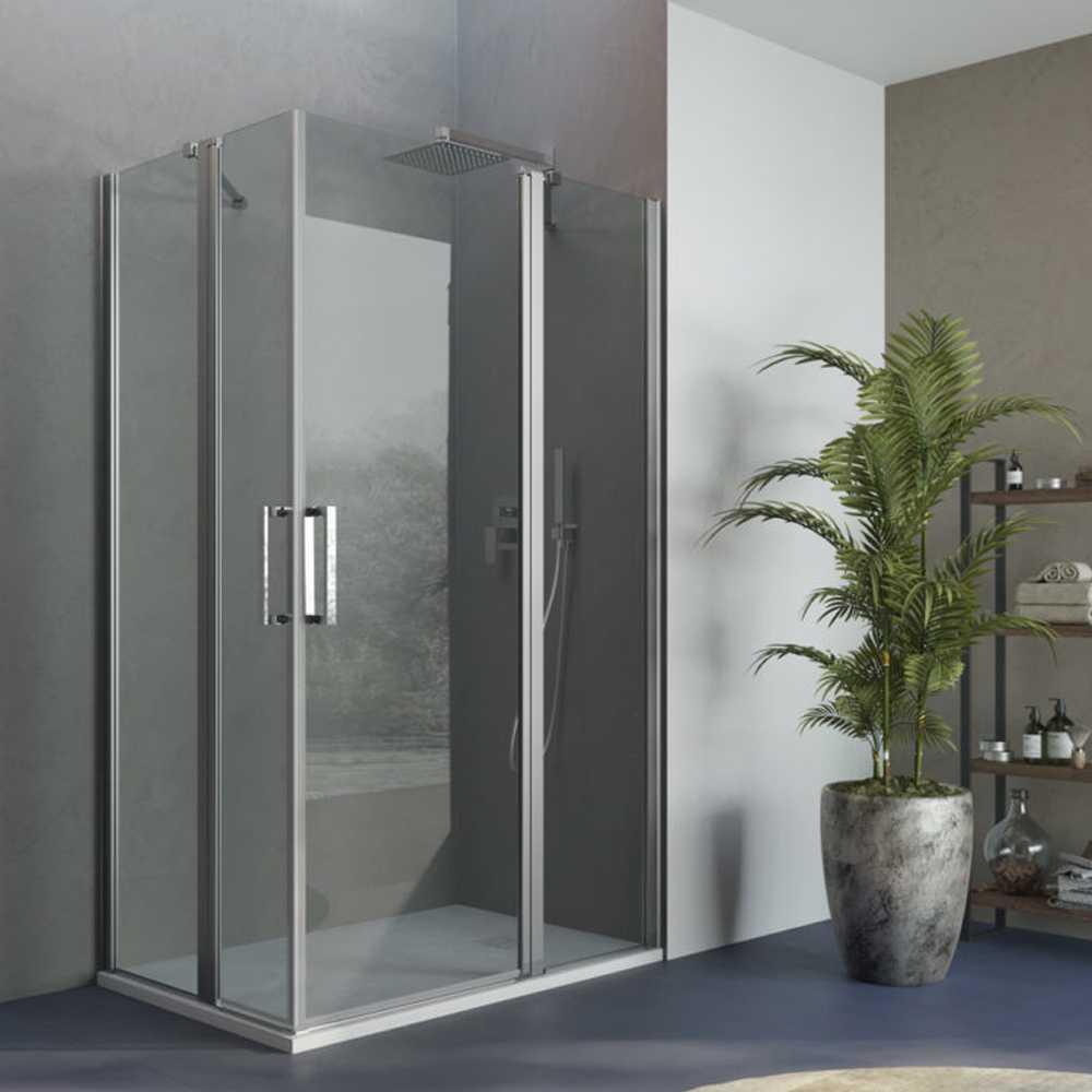 Box doccia apertura battente angolare reversibile 70x70 cm modello Demetra in cristallo trasparente 6 mm