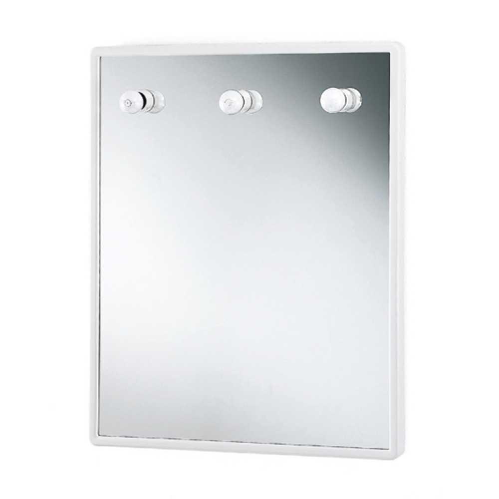 Specchio rettangolare  con luci e cornice in abs bianca cm 60x75h