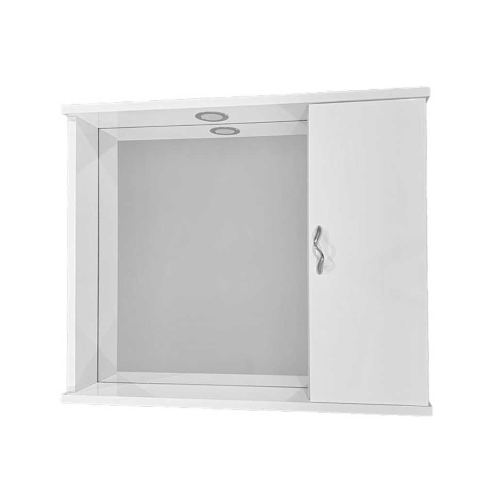 Pensile bagno con specchio e anta completo di faretto cm 72x16x60,5h