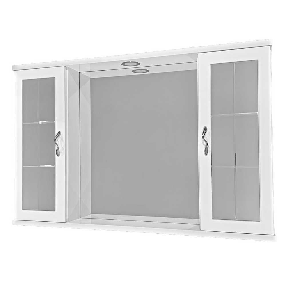 Pensile bagno con specchio e due ante a specchio completo di faretto cm 94,5x16x60,5h