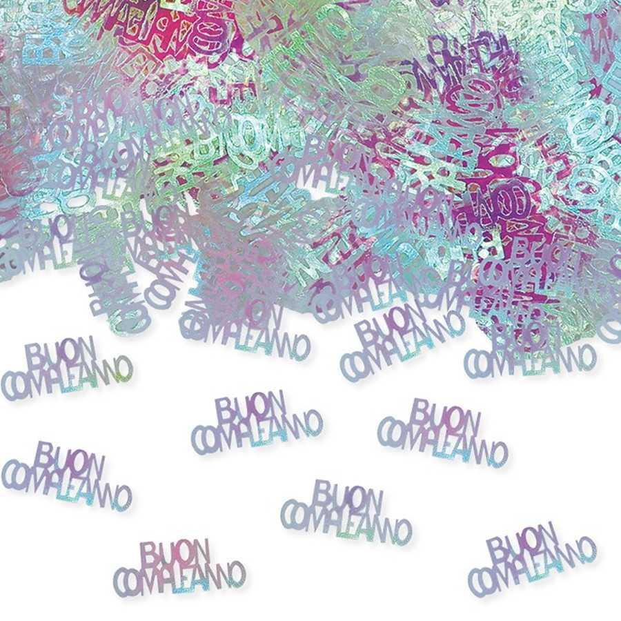 Coriandoli scritta 'Buon Compleanno' in plastica colore Iridescente per party e feste confezione da gr 15