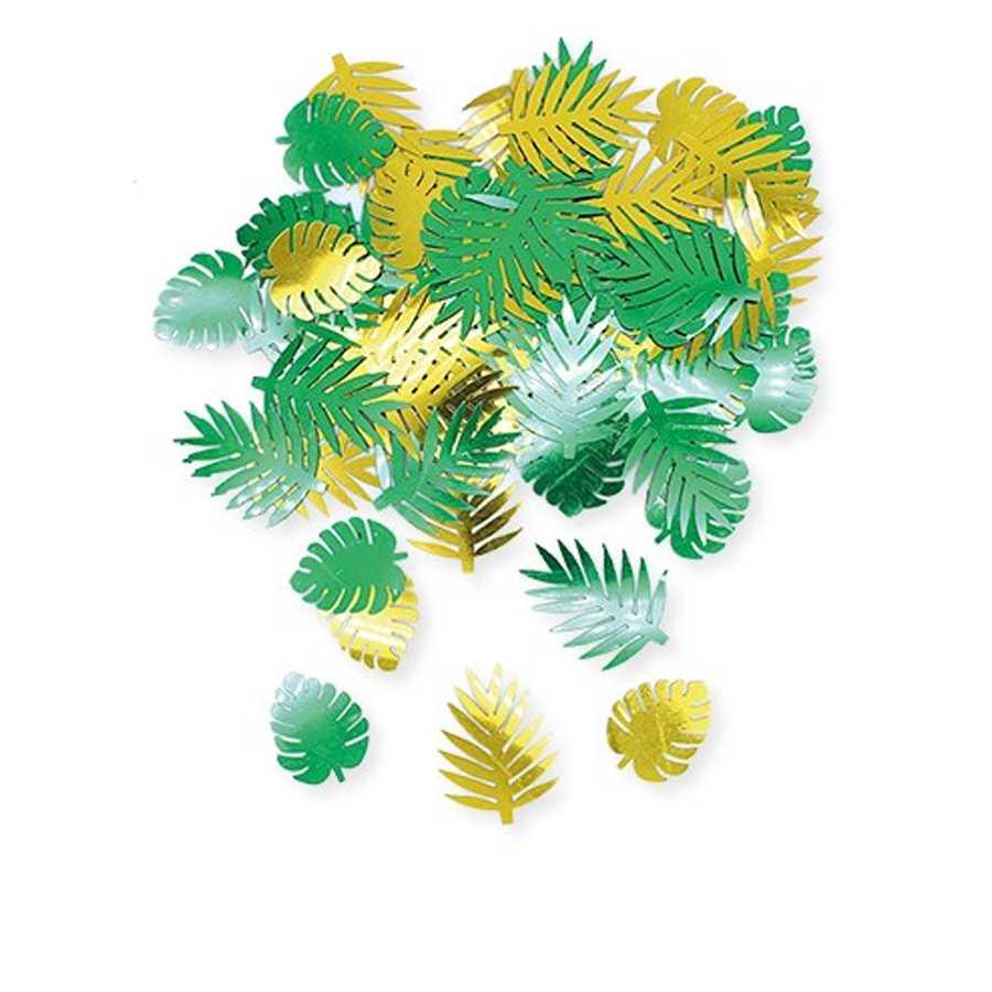 Coriandoli sagomati a forma di foglie tropicali in plastica colori oro e verde per party e feste tema Tropical confezione da gr 15