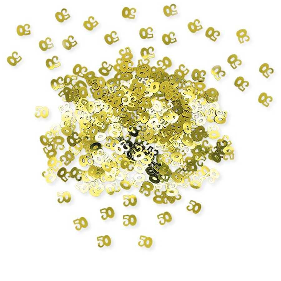 Coriandoli sagomati numero Cinquanta in plastica color oro per anniversari o compleanni confezione da gr 15