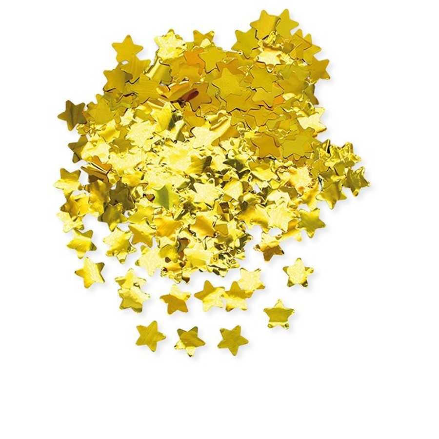 Coriandoli a forma di stella in foil cm 2x2 per party e feste confezione da gr 50 oro metal