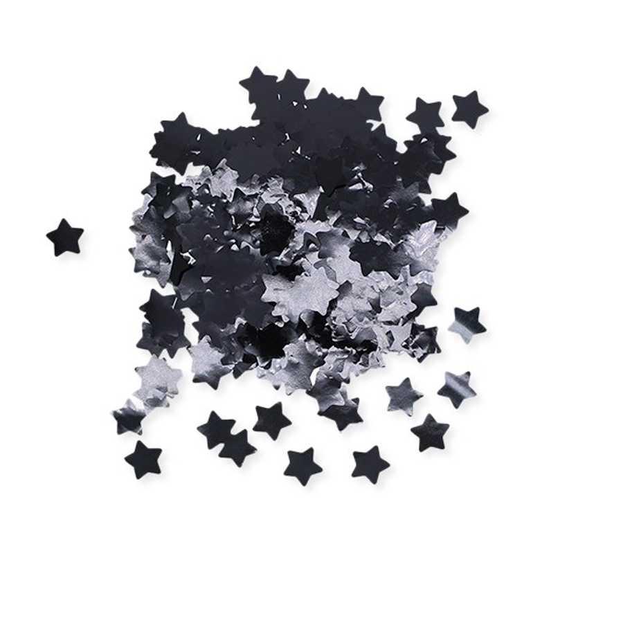 Coriandoli a forma di stella in foil cm 2x2 per party e feste confezione da gr 50 nero metal