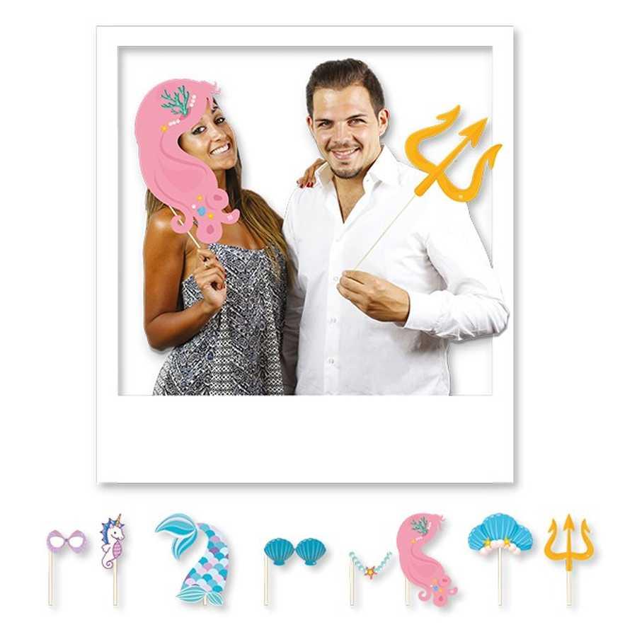 Accessori per photo booth Mermaid Party confezione da 8 crops per cornice fotografie tema sirene