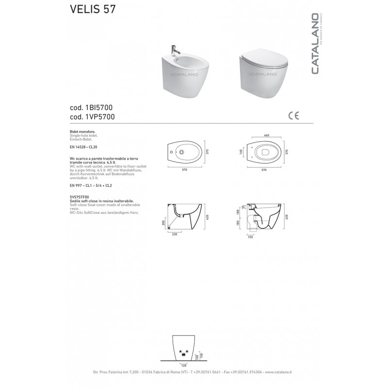 Sanitari Filoparete Ceramica Catalano Velis 57 Smalto Cataglaze Design Moderno