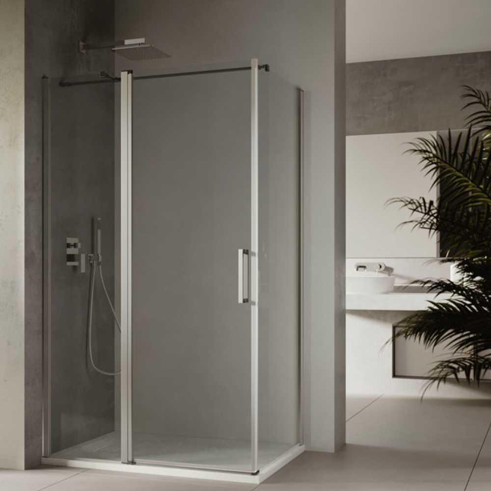 Box doccia quadrato angolare reversibile porta battente e lato fisso 90x70 cm modello Rea in cristallo trasparente 6 mm