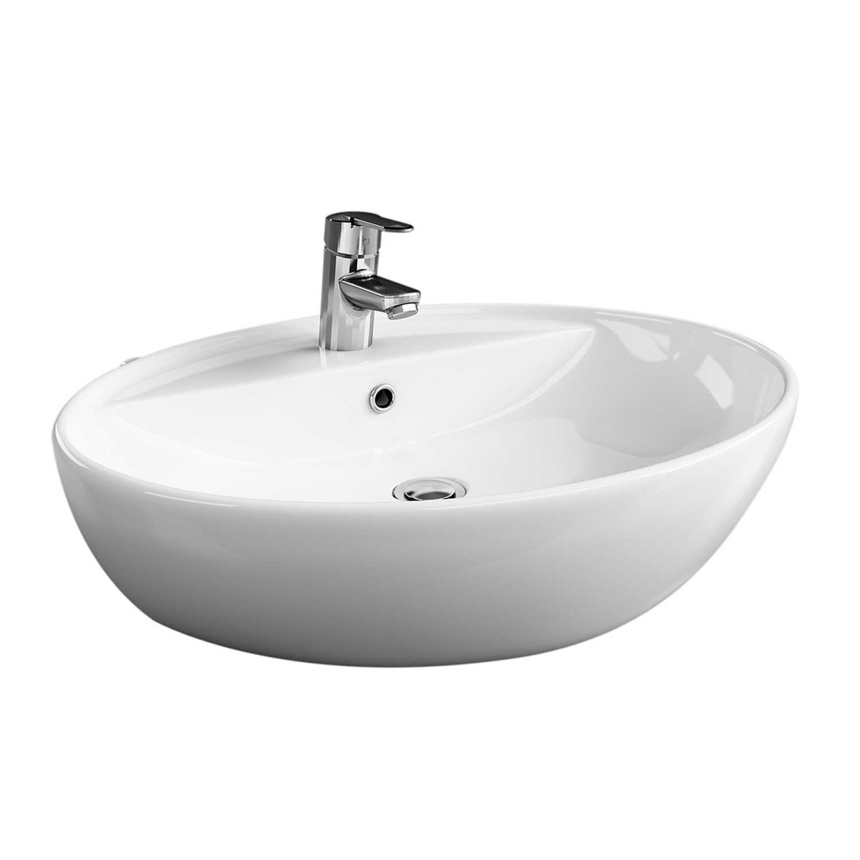 Lavabo d'appoggio monoforo Claim in ceramica bianca con troppo pieno cm 57x44,5