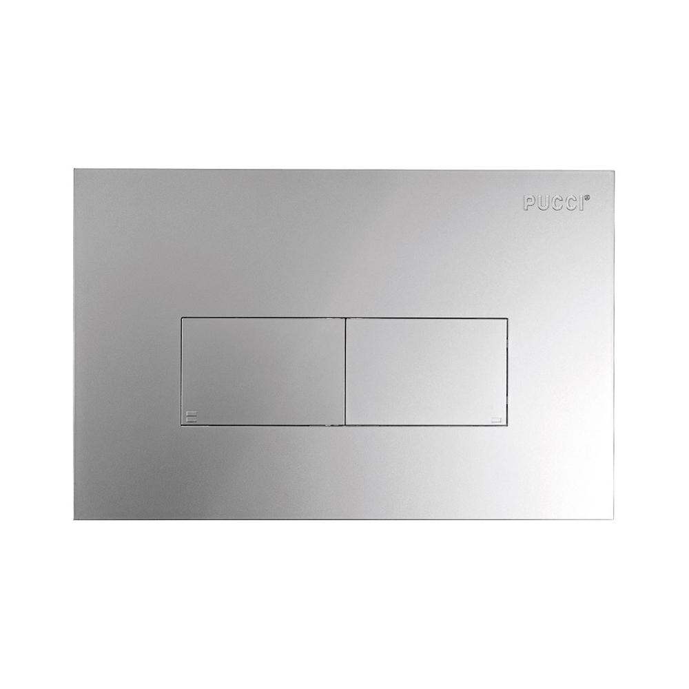 Placca per cassetta incasso pucci eco 2 pulsanti modello Linea Cromo Satinato