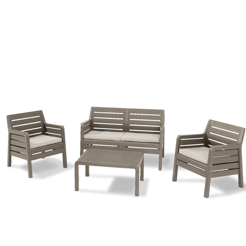 Salotto da esterno in resina antiurto modello Delano colore cappuccino con cuscini e tavolino