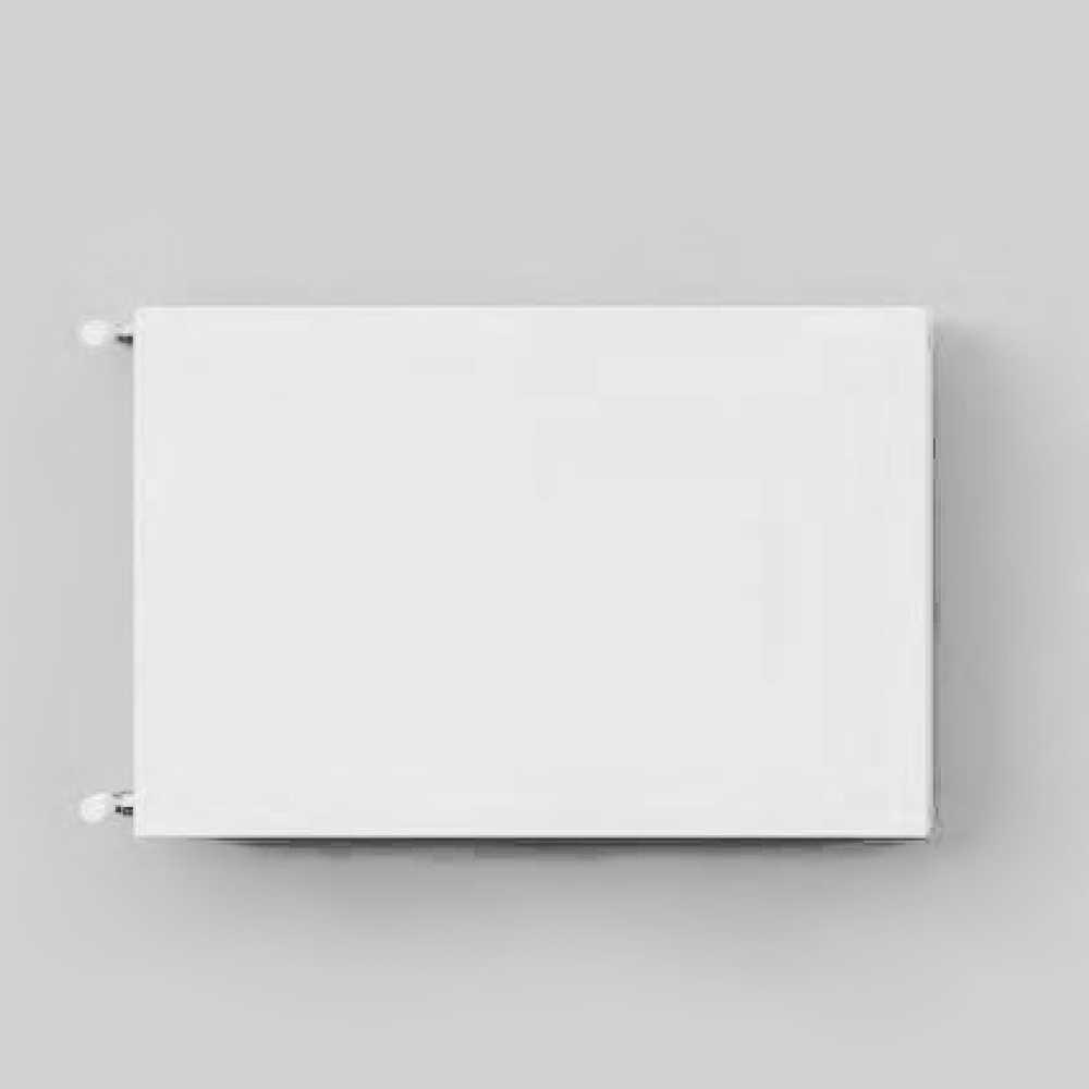 Termoarredo orizzontale idraulico Linea Decoart piastra d'acciaio bianca dimensioni cm 50x50 interasse cm 44