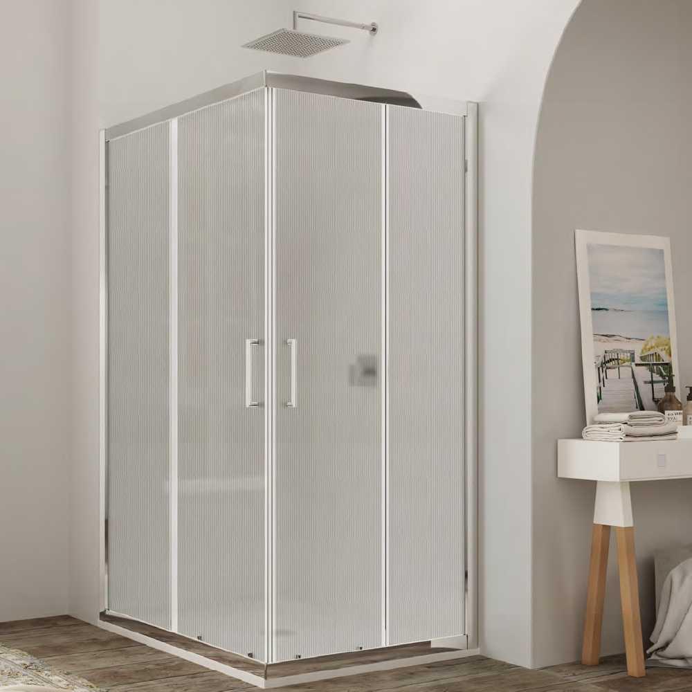 Box doccia quadrato con apertura angolare scorrevole cm 70x70 modello Venere 2.0 in cristallo temperato stampato opaco mm 6