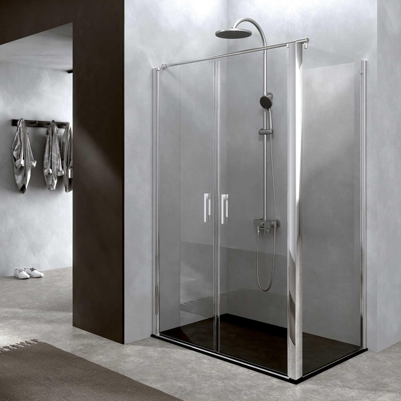 Box doccia 70x70 cm con parete fissa e porta a due battenti cristallo temperato trasparente 6 mm Salina versione DESTRA