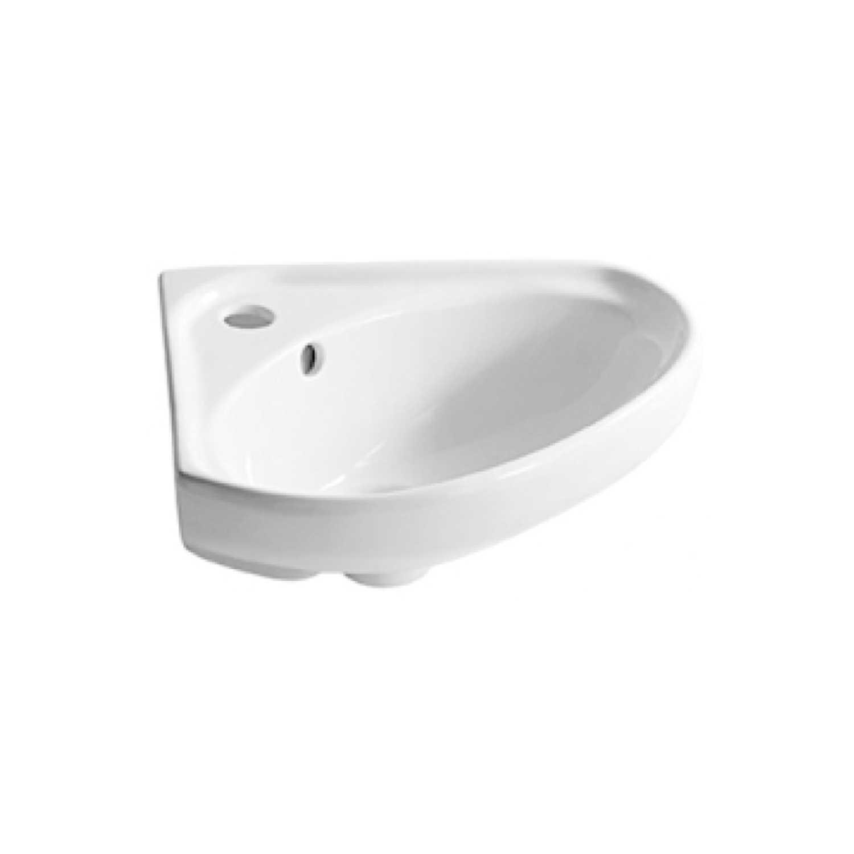 Lavabo ad angolo in ceramica bianca lucida per installazione sospesa cm 34x34