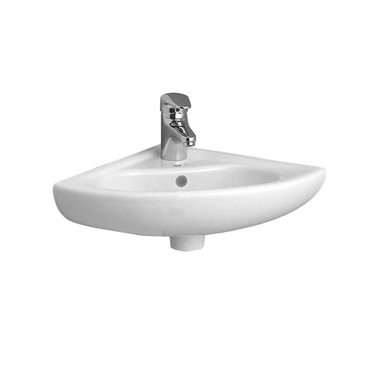 Lavabo ad angolo in ceramica bianca lucida per installazione sospesa cm 40x40