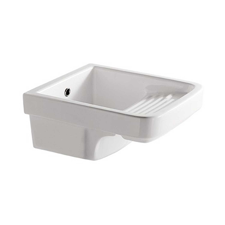 Lavatoio in ceramica con strizzatoio per installazione sospesa o in appoggio cm 45x53x26h