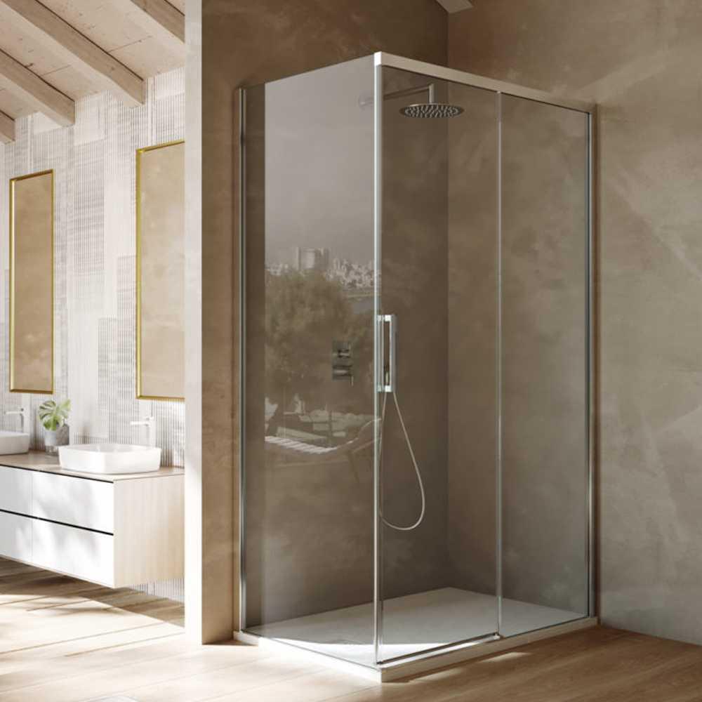 Box doccia rettangolare con apertura scorrevole verso destra cm 120x70 modello Lauren in cristallo temperato mm 8
