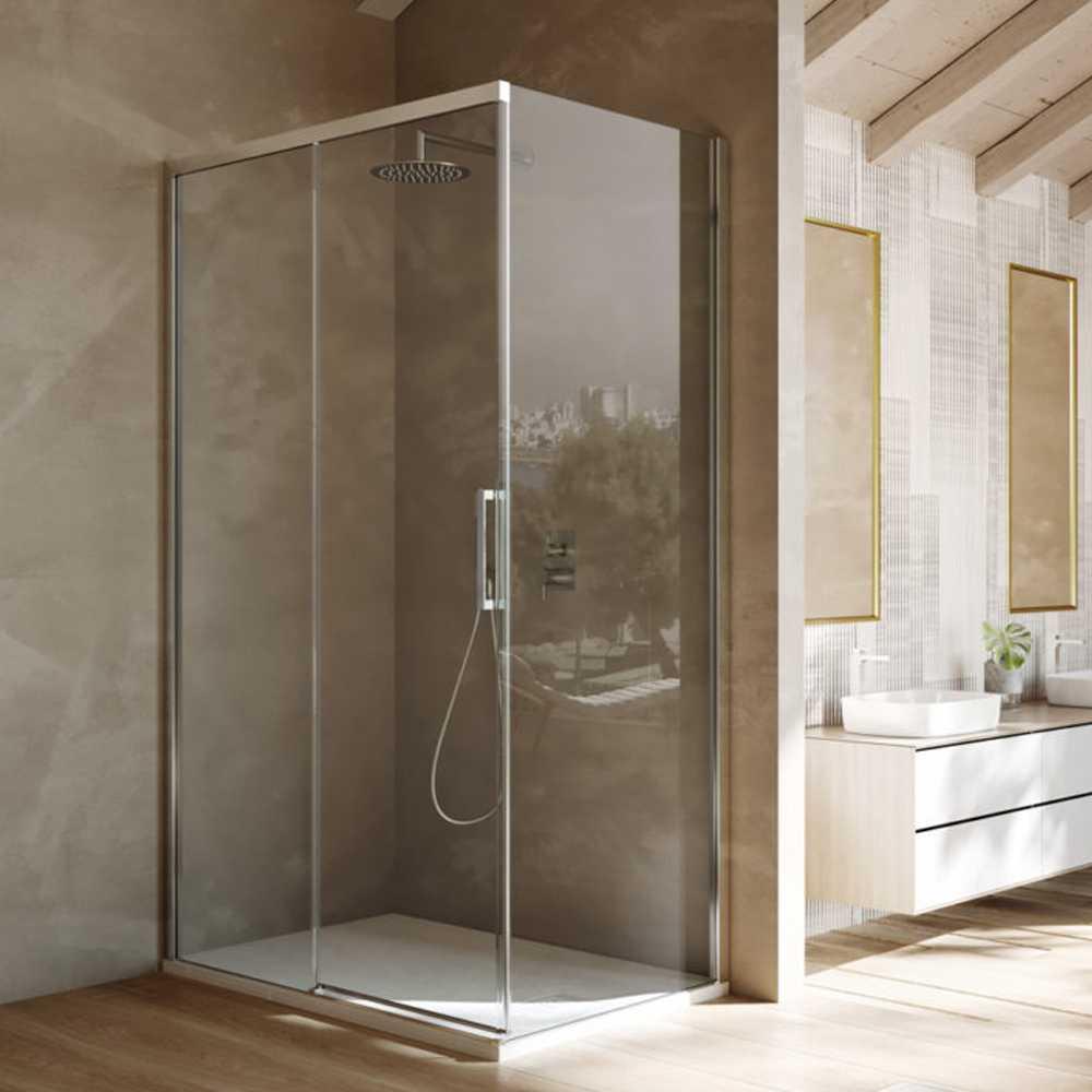 Box doccia rettangolare con apertura scorrevole verso sinistra cm 120x70 modello Lauren in cristallo temperato mm 8