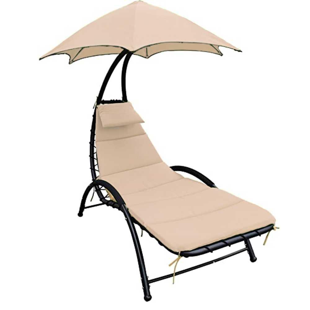 Comodo lettino prendisole con cuscino e ombrellino parasole tortora