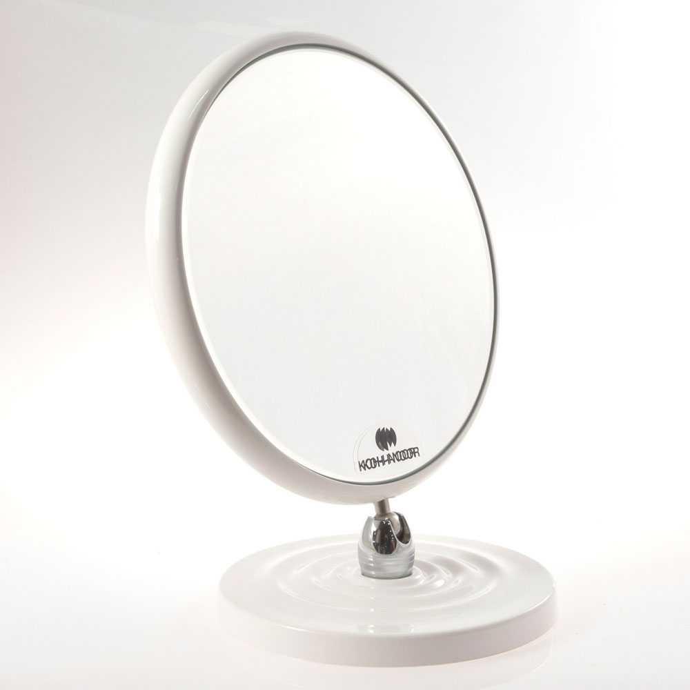 Specchio ingranditore bifacciale da tavolo linea 'Toeletta' cm ø 18 - Ingrandimento X3 - Bianco