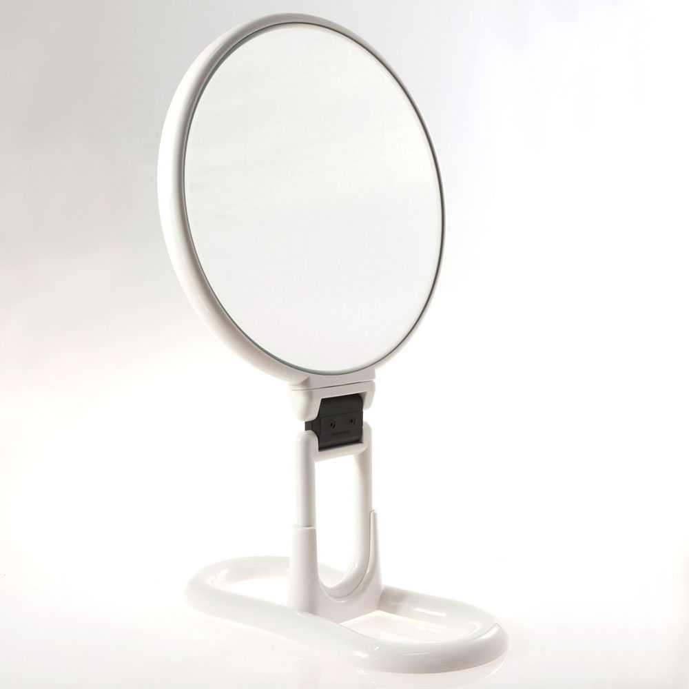 Specchio ingranditore con manico multi-snodo e supporto - linea 'Toeletta' bifacciale cm ø 18 - Ingrandimento X3 - Bianco
