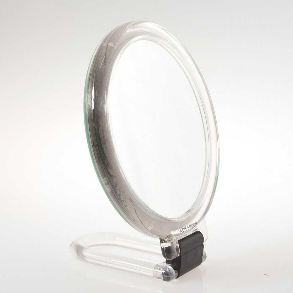 Specchio ingranditore con manico pieghevole linea 'Toeletta' bifacciale cm ø 14 - Ingrandimento X3 - Trasparente