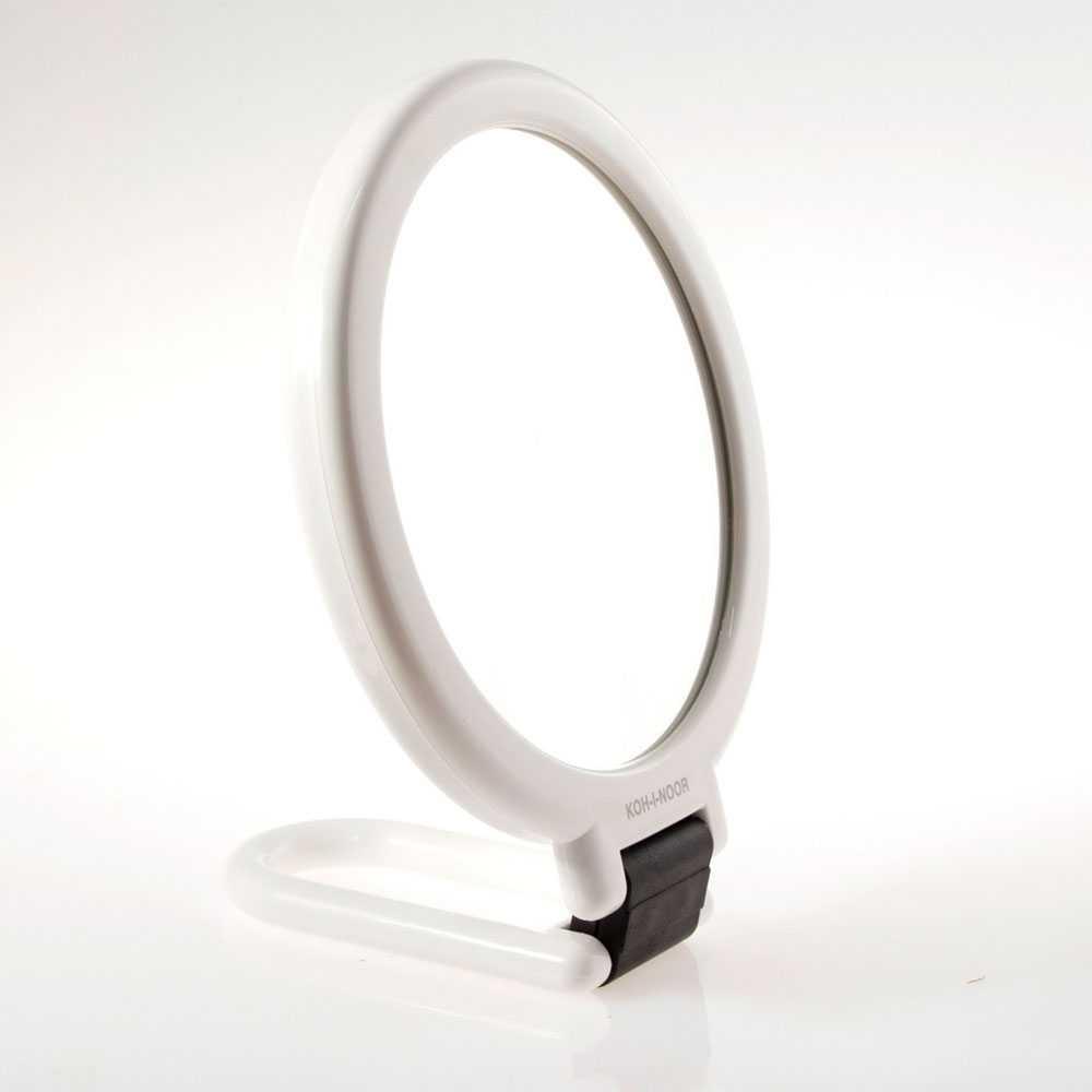 Specchio ingranditore con manico pieghevole linea 'Toeletta' bifacciale cm ø 14 - Ingrandimento X3 - Bianco