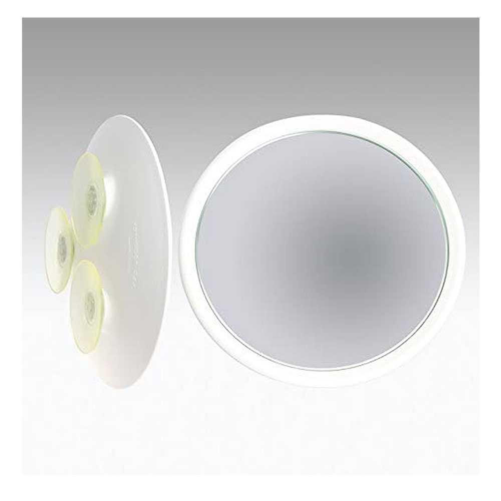 Specchio ingranditore monofacciale con 3 ventose linea 'Toeletta' cm ø 23 - Ingrandimento X6 - Bianco