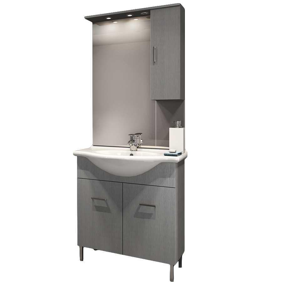 Mobile bagno a terra a due ante con lavabo, specchio e pensile contenitore modello Venice in nobilitato rifinitura larice grigio