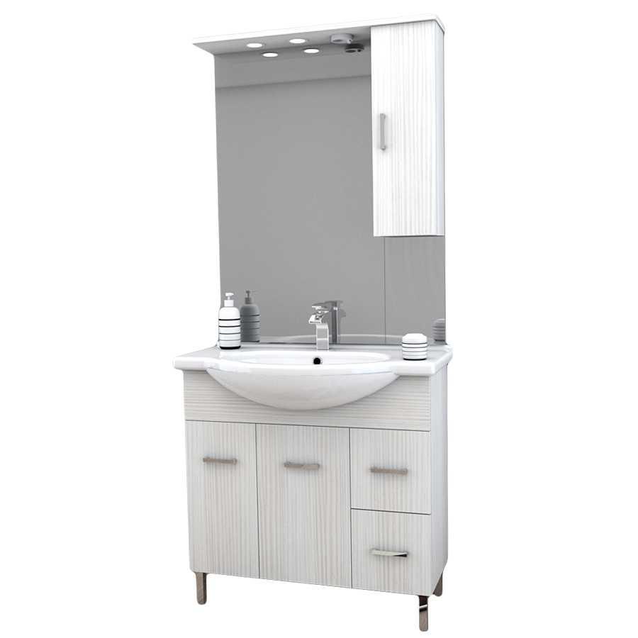 Mobile bagno a terra con due ante, due cassetti, lavabo in ceramica, specchio e pensile contenitore modello Venice in nobilitato rifinitura effetto legno larice bianco