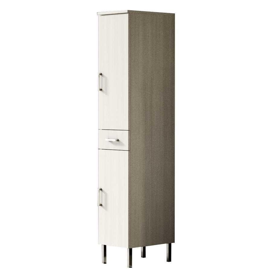 Mobile colonna a terra con due ante e cassetto centrale modello Jour altezza cm 180 finitura larice bianco