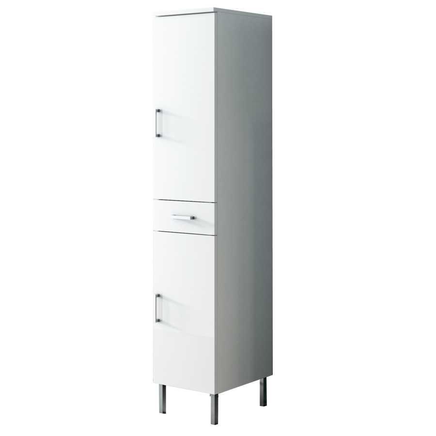 Mobile colonna a terra con due ante e cassetto centrale modello Jour altezza cm 180 finitura bianco laccato lucido