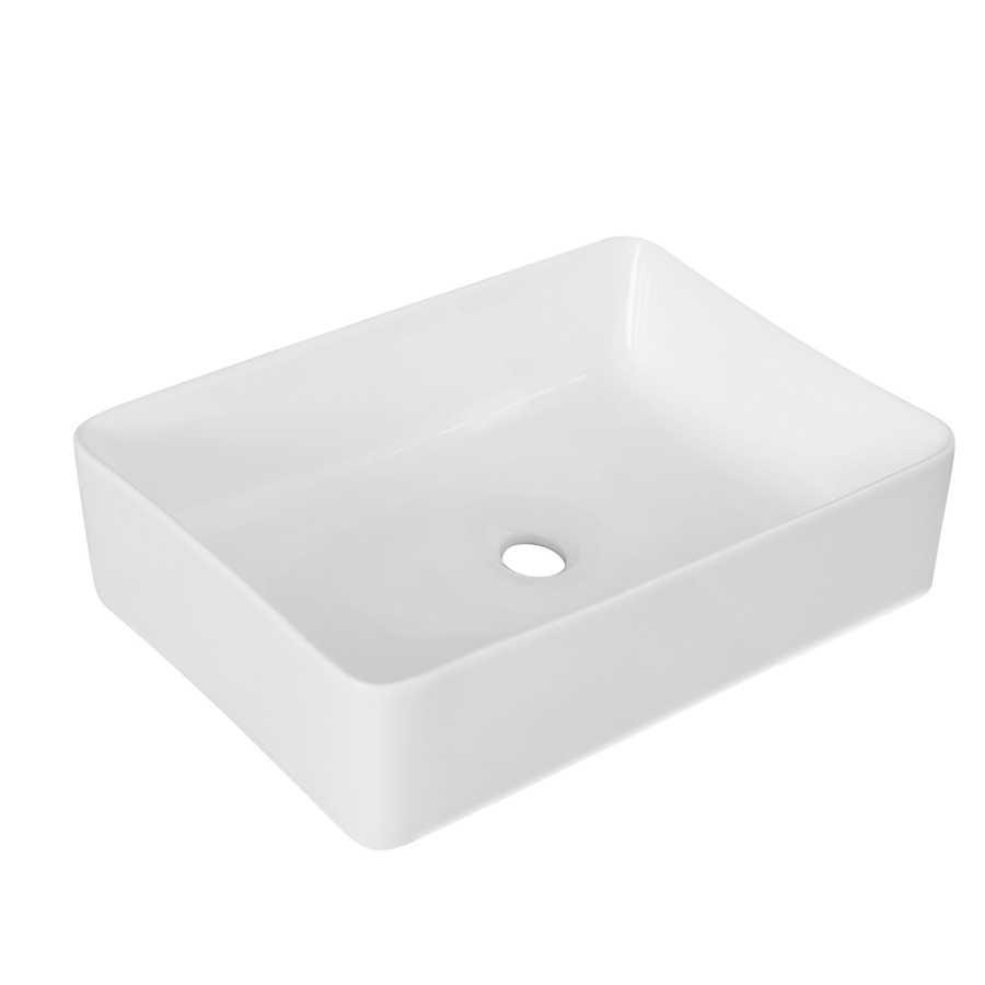 Lavabo d'appoggio rettangolare in ceramica bianca senza troppo pieno cm 40,5x30,5