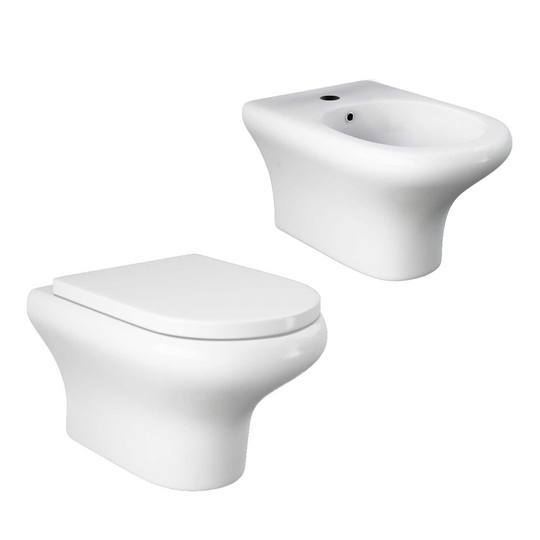 Coppia di sanitari sospesi Block di Rak Ceramics cm 37x52 bidet - wc senza brida e copriwater