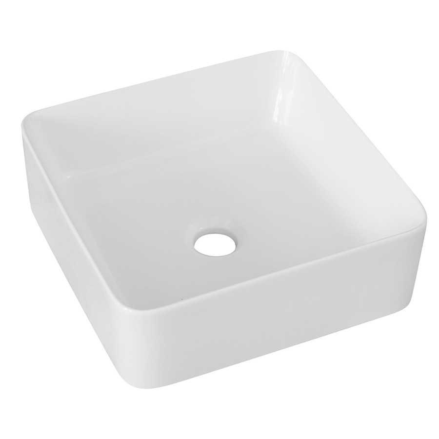 Lavabo d'appoggio quadrato in ceramica bianca senza troppo pieno cm 34,5x34,5 bordi sottili