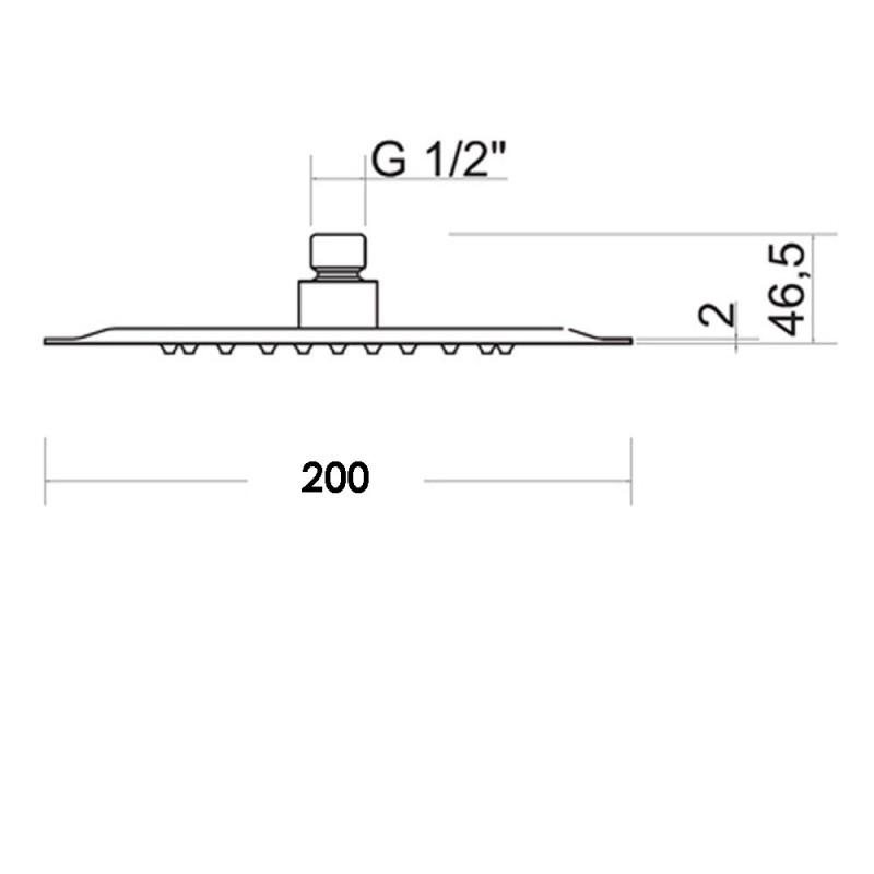 Soffione doccia Ares tondo acciaio inox diametro 200 mm lucidato a specchio