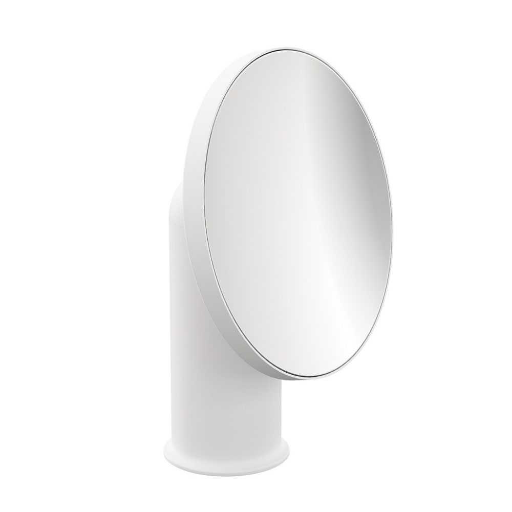 Specchio ingranditore da appoggio in acciaio della collezione 'Geyser' by Cosmic - Bianco satinato