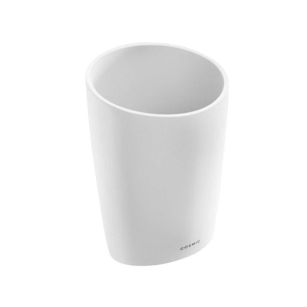 Portaspazzolini da appoggio in vetro acrilico della collezione 'Saku' by Cosmic - Bianco soft