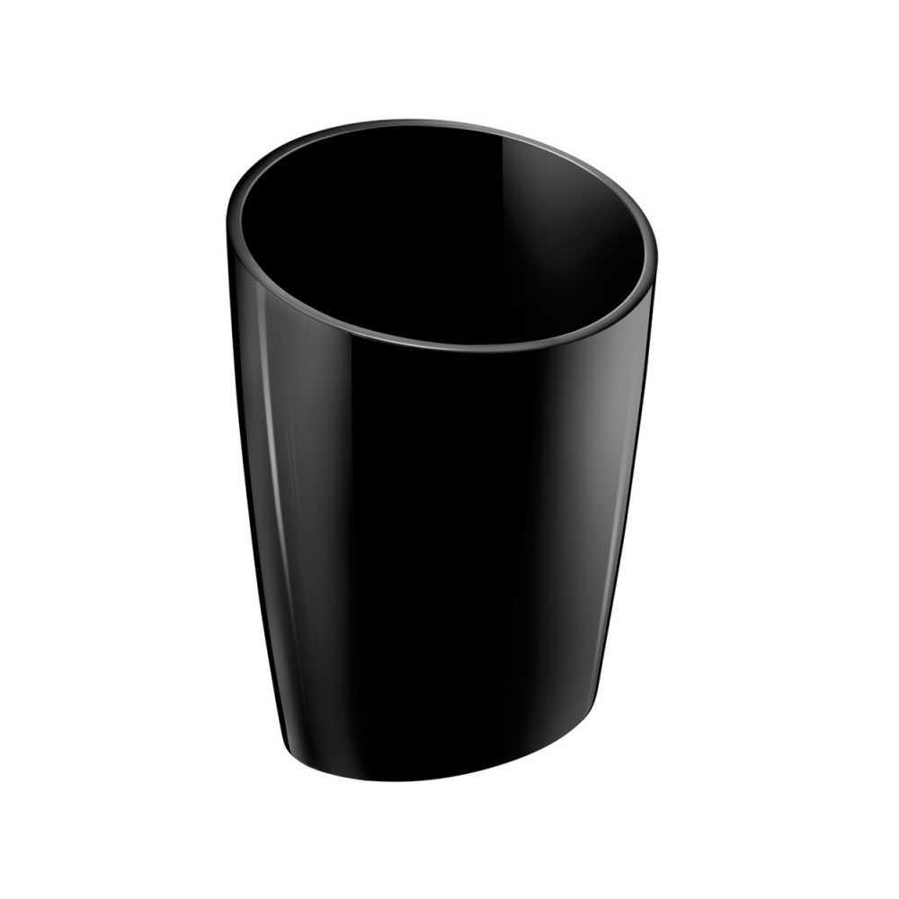 Portaspazzolini da appoggio in vetro acrilico della collezione 'Saku' by Cosmic - Nero lucido